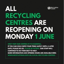 Recycling Centres to open Monday 1 June Icon
