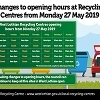 Reduction in opening hours at Recycling Centres  Icon